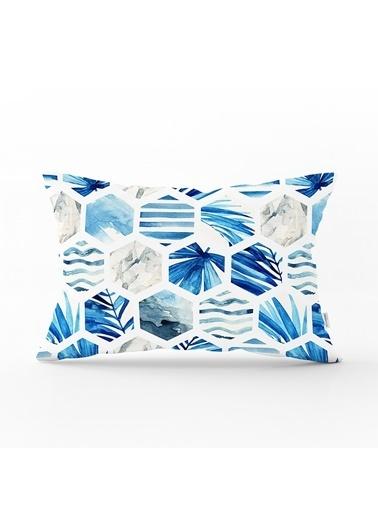 Real Homes Mavi Temalı Geometrik Şekilli Dekoratif Dikdörtgen Yastık Kırlent Kılıfı Renkli